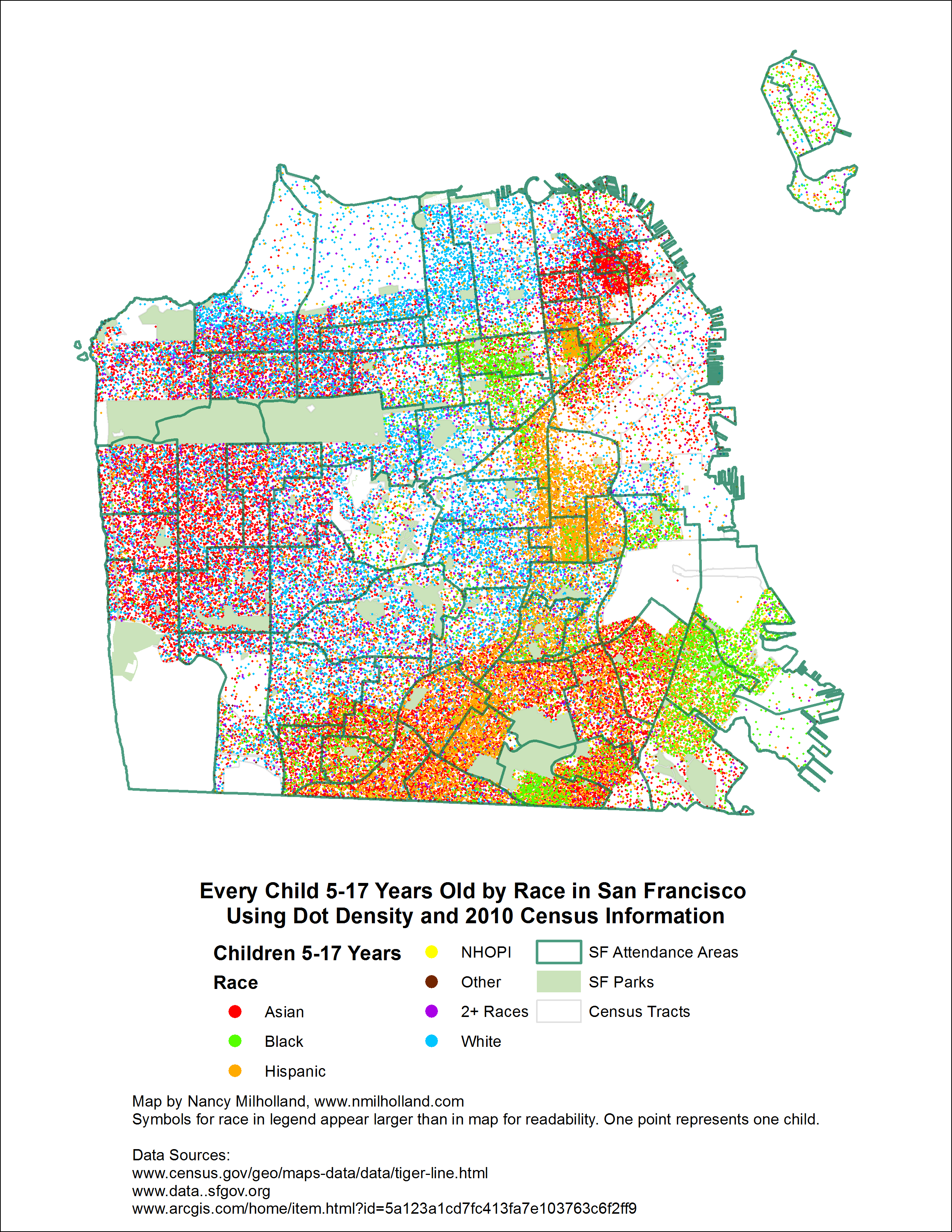 Children 5 17 Years Old By Race In San Francisco As A Dot Density