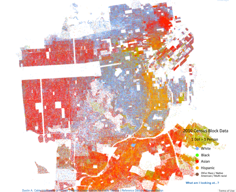 Racial Dot Map for Everyone in San Francisco by the Weldon Cooper Center