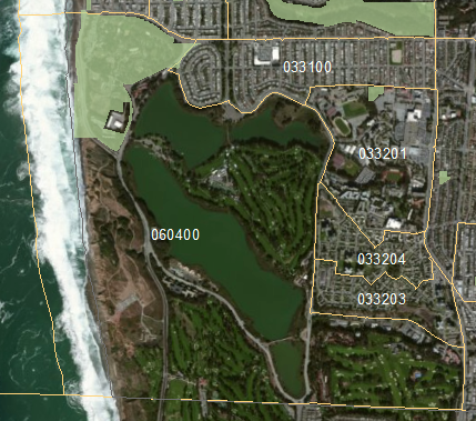 Lake Merced Census Tract 060400 Before Editing