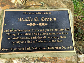 Plaque commemorating 1929 park dedication and Madie Brown