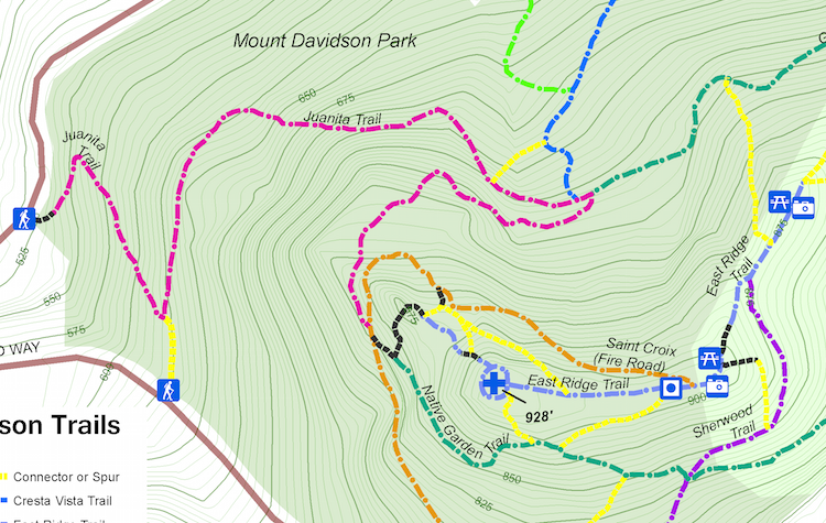 Mt Davidson Trail Map Excerpt